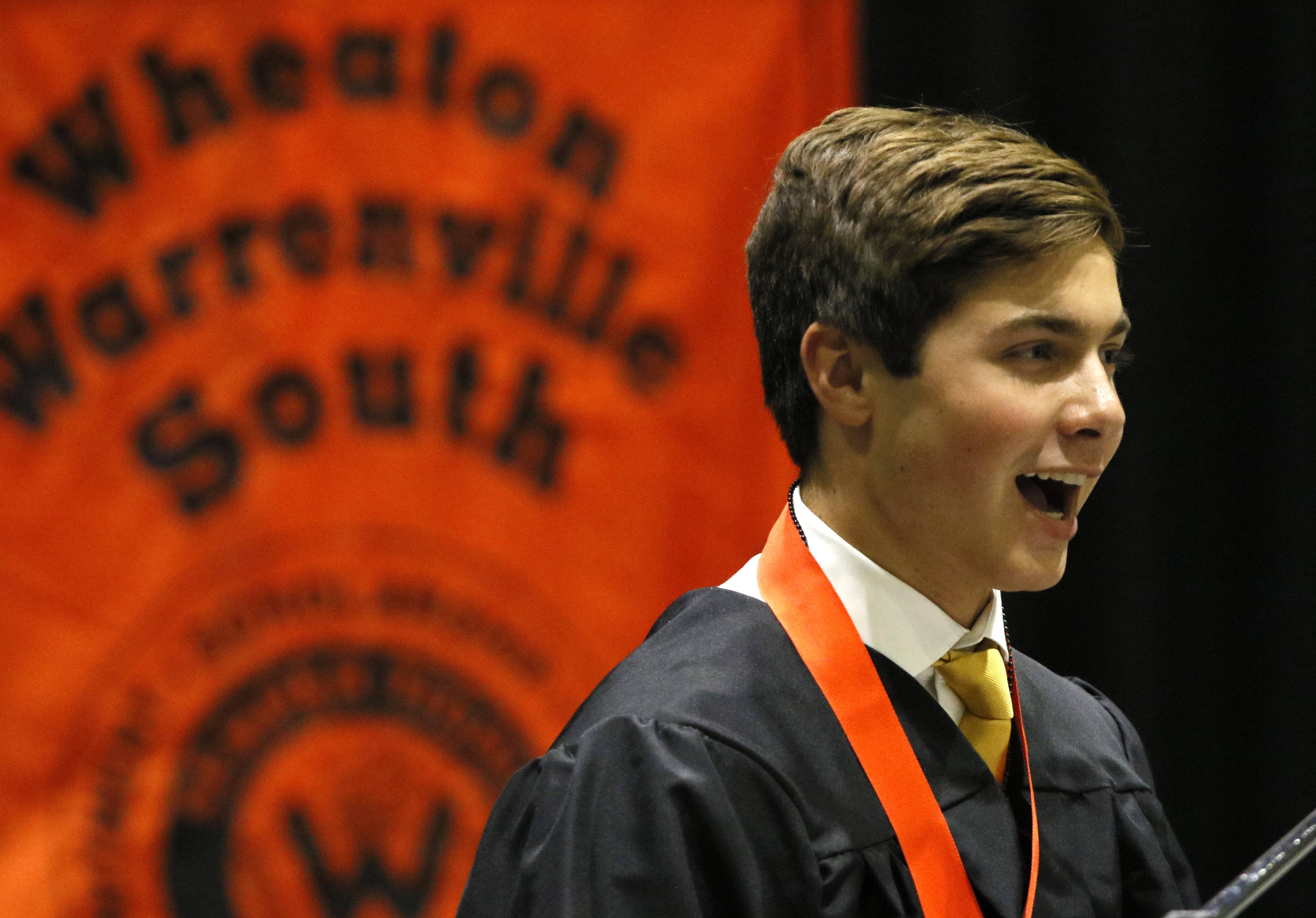 "Ryan Joyce delivers his commencement address ""The Story"" during the Wheaton Warrenville South High School graduation at the College of DuPage."