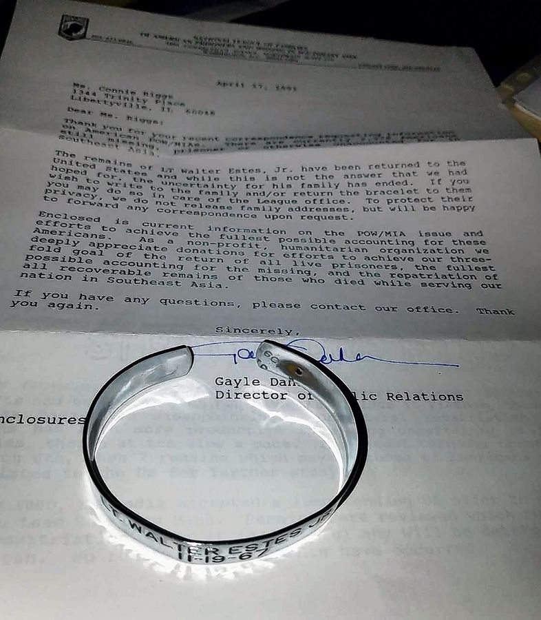 In high school, Connie Riggs wore this bracelet in honor of Navy Lt. Walter Estes, a 28-year-old Michigan man whose plane went down during the Vietnam War. Riggs, a former Libertyville teacher and school librarian, received a letter in 1991 advising her that Estes' remains were returned in the United States in 1977.