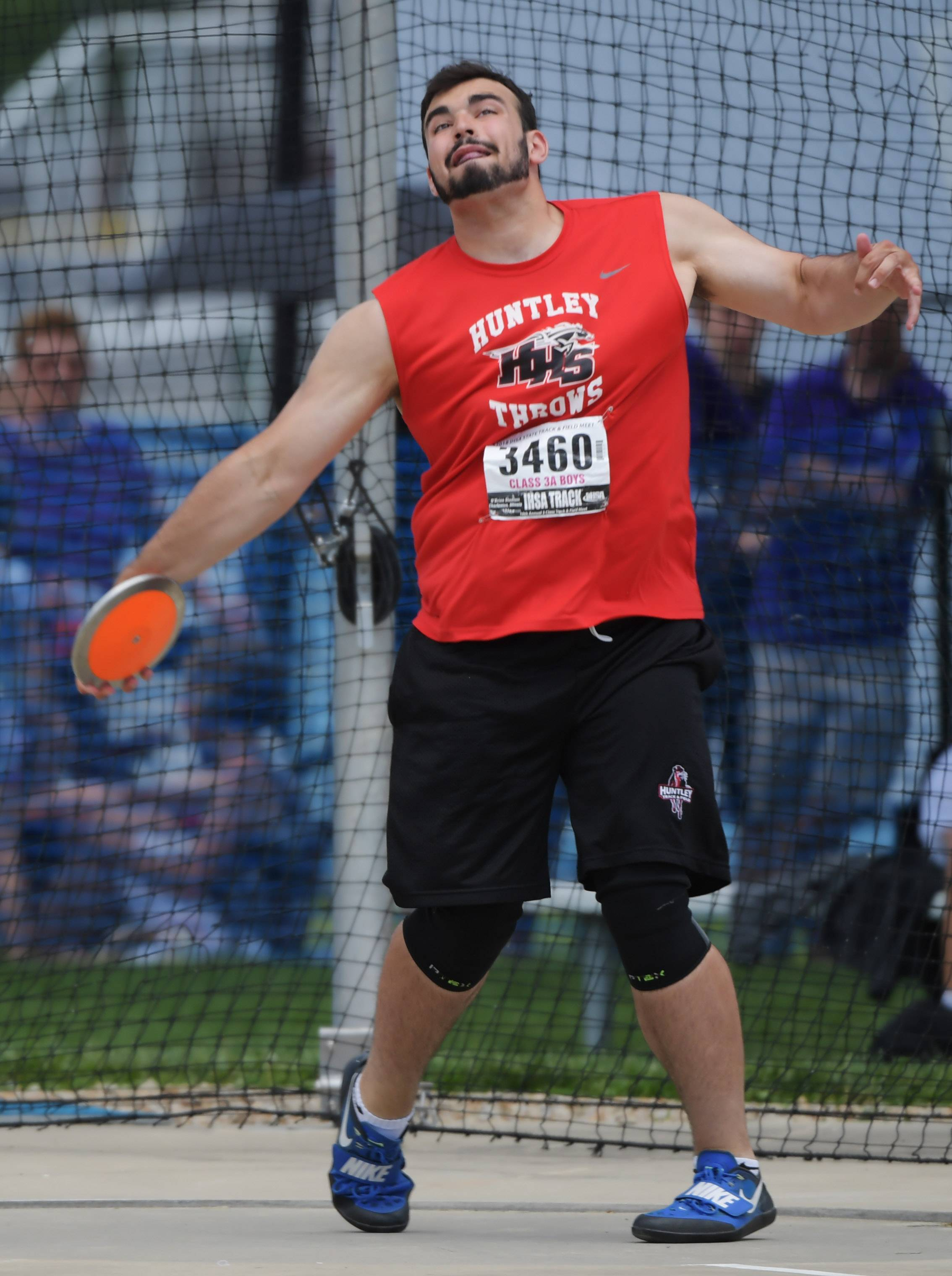 Huntley's Ben Litwin competes in the discus during the Class 3A boys state track and field finals in Charleston Saturday.