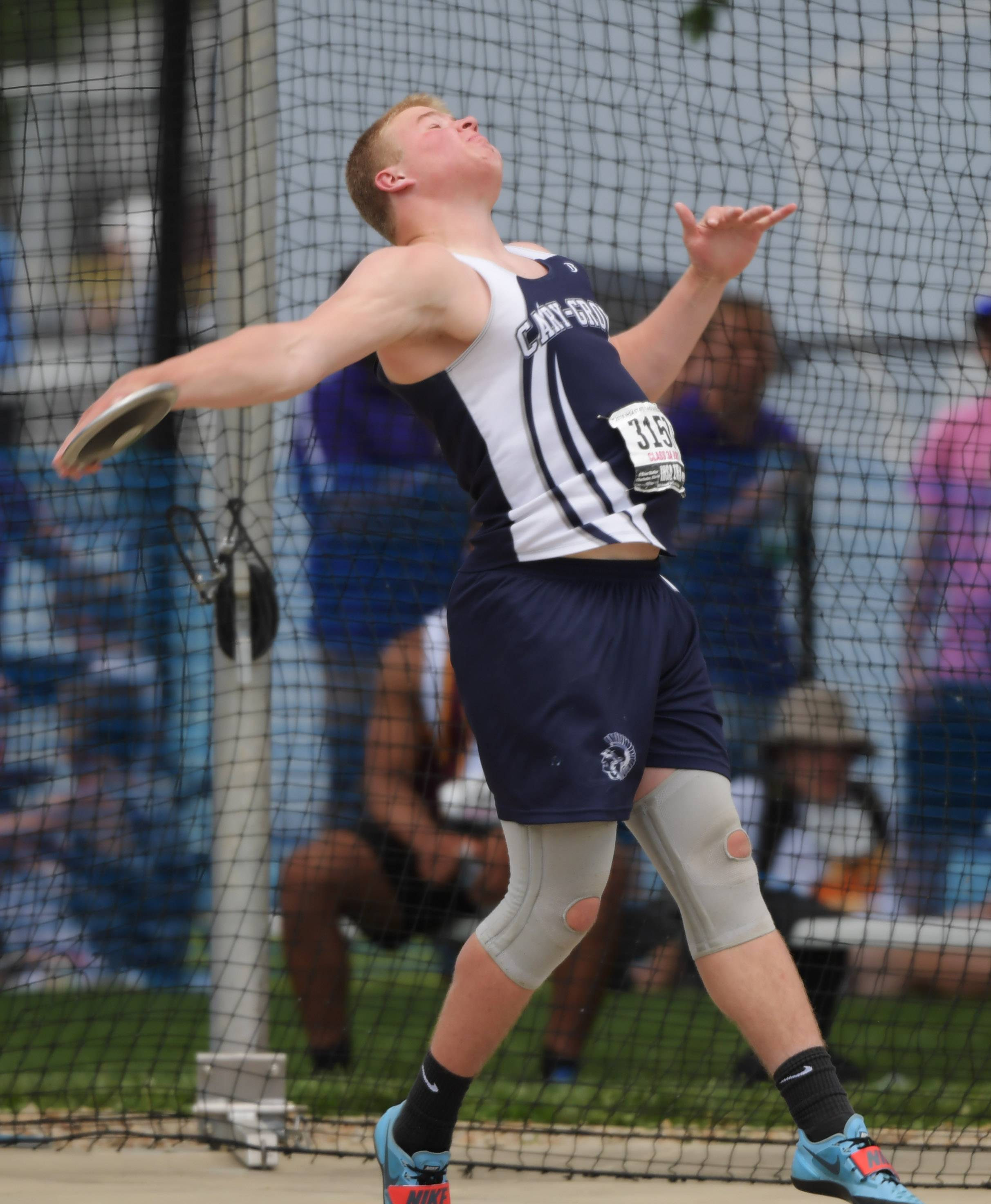 Cary-Grove's Jason Petko competes in the discus during the Class 3A boys state track and field finals in Charleston Saturday.