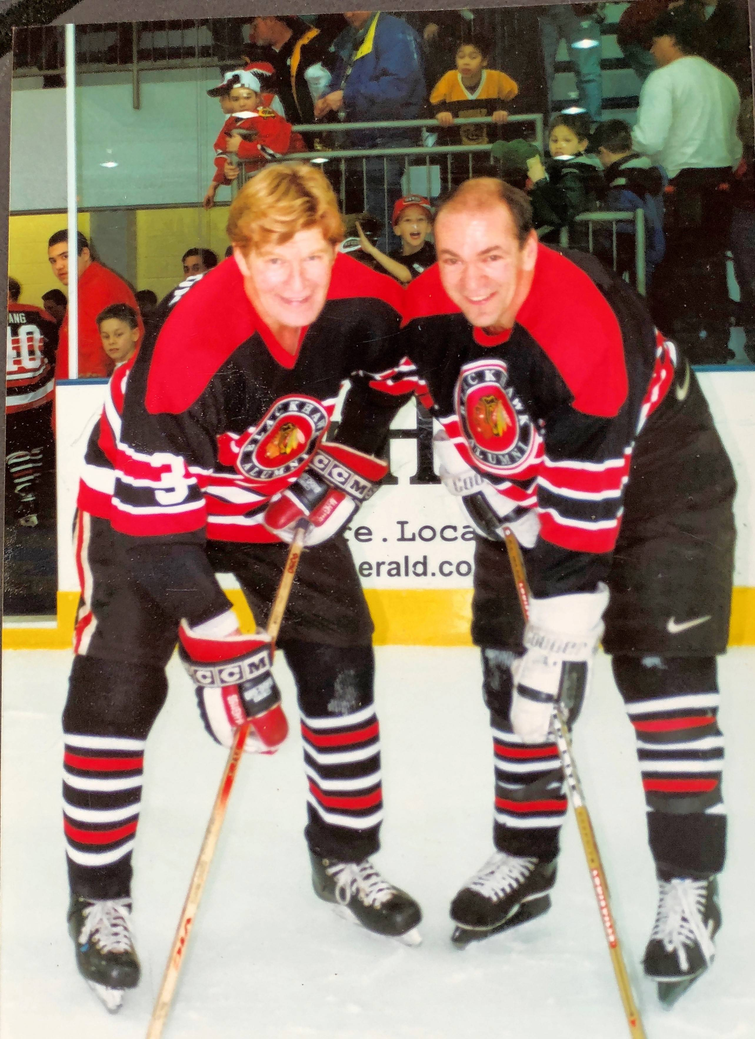 "Steve Richmond, right, seen here with the late Keith Magnuson at a Blackhawks Alumni event in the '90s, is excited to finally have a shot at a championship ring. As the director of player development for the Washington Capitals, Richmond has been on the long, torturous road of making the playoffs 10 out of the last 11 years but never bringing it all home. ""Sometimes you just get beat by a great team. This year, maybe it's our turn."""