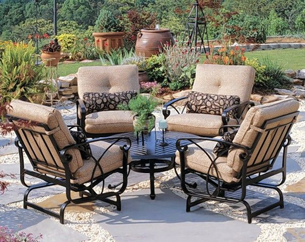 Today's outdoor seating sets often have cushions made with durable, all-weather fabrics.