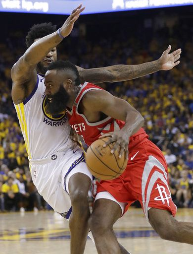 Houston Rockets guard James Harden, right, drives against Golden State Warriors forward Jordan Bell during the first half of Game 6 of the NBA basketball Western Conference Finals in Oakland, Calif., Saturday, May 26, 2018.