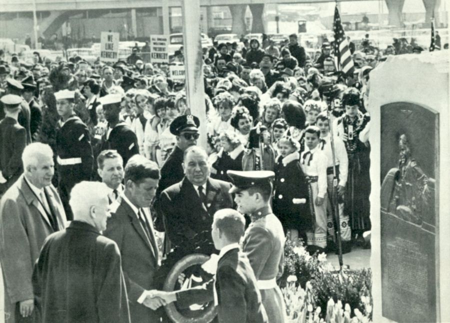 President John F. Kennedy dedicates O'Hare International Airport in 1963.