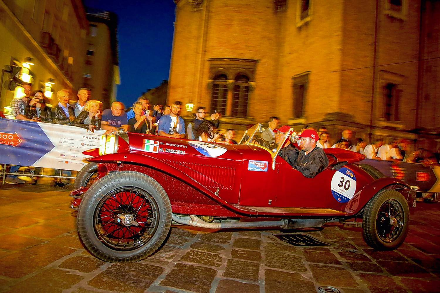 Drivers Giovanni Moceri and Daniele Bonetti of Italy drove to second place in this Alfa Romeo 6C 1500 Super Sport.