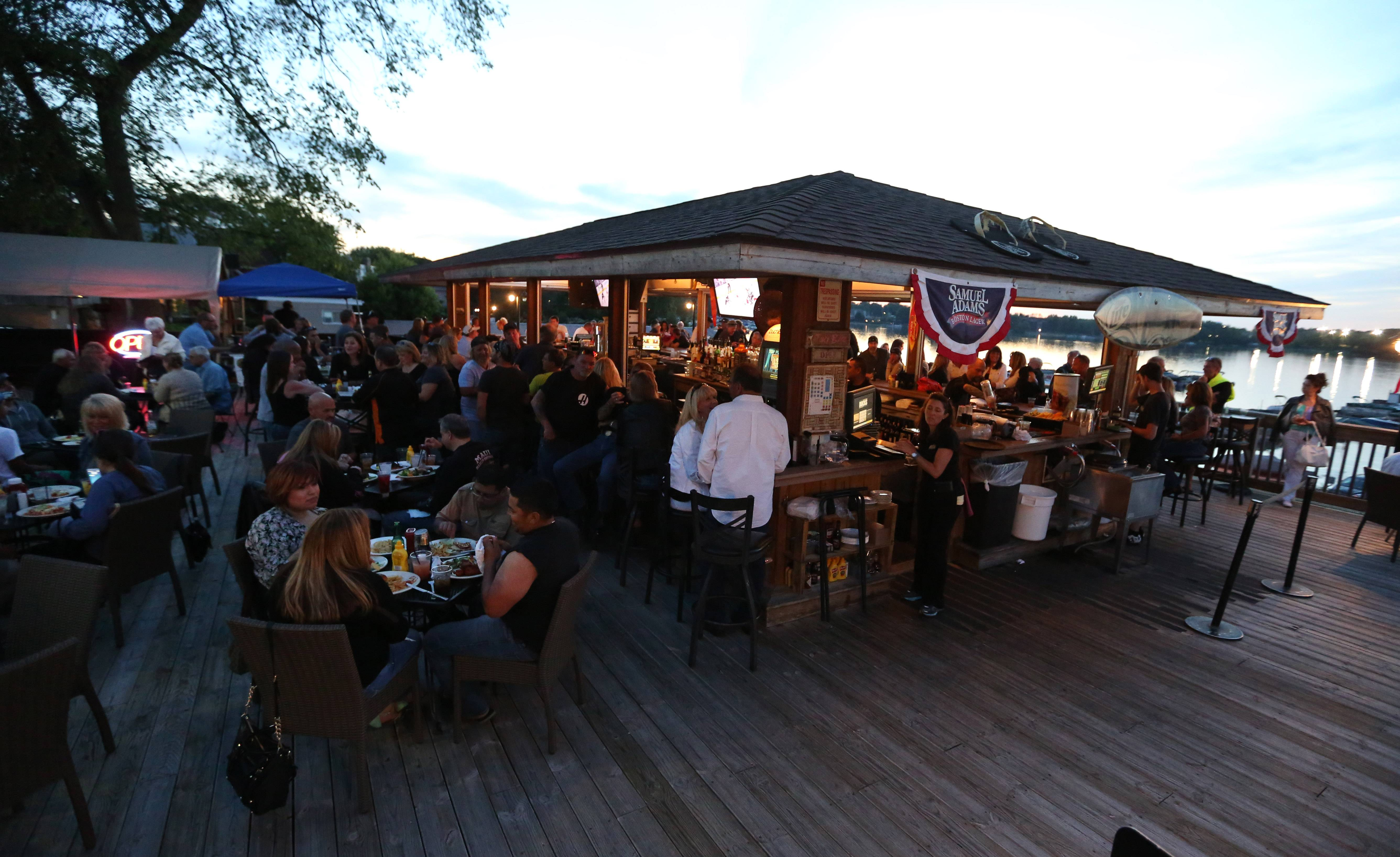 Docks Bar and Grill in Wauconda offers a tiki-themed bar and deck overlooking Bangs Lake.