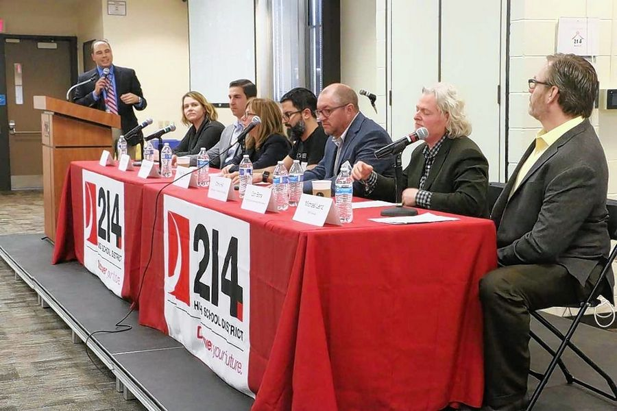 Technology leaders met at a summit hosted by District 214 in March 2018 to discuss the need to build a pipeline of talent for cyber careers, and how private and public organizations can partner to help students gain skills and hands-on experiences.