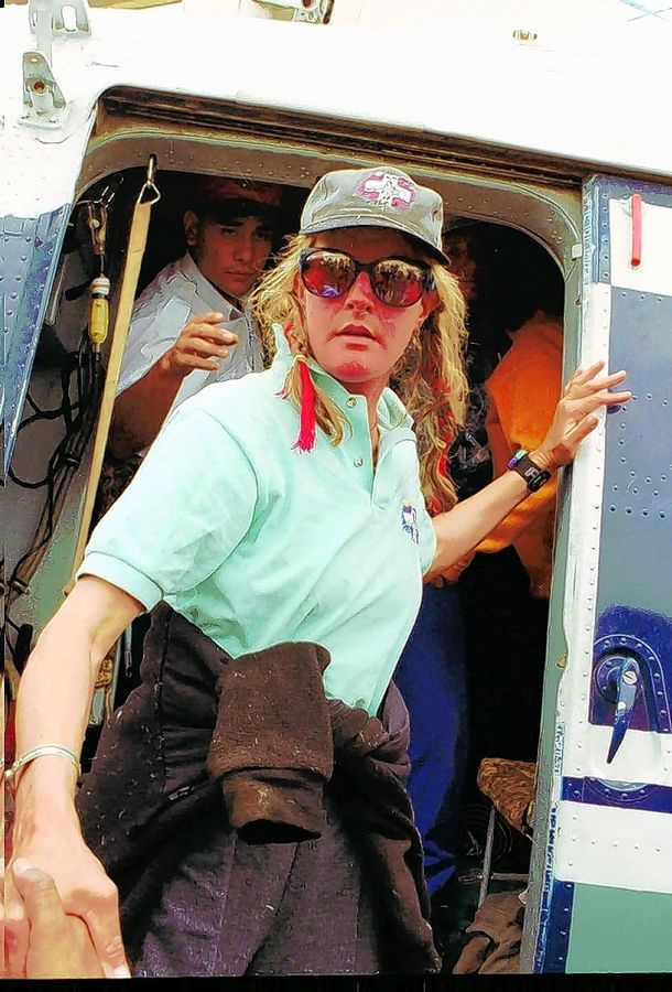 "Charlotte Fox in 1996 after she was evacuated from Mount Everest after the deadly 1996 blizzard recounted in Jon Krakauer's book ""Into Thin Air."" Fox died last week at home in Telluride, Colorado, from an apparent fall from the top of her stairs. She was 61."