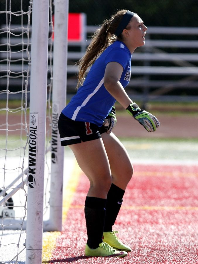 Barrington goalkeeper Samantha Schmitz directs the defense during a 1-0 win over Naperville North during the Class 3A girls state soccer semifinals at North Central College on Friday.