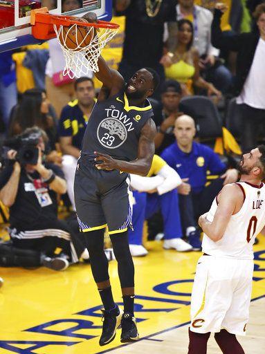 f96162b796c Golden State Warriors forward Draymond Green (23) dunks over Cleveland  Cavaliers forward Kevin Love