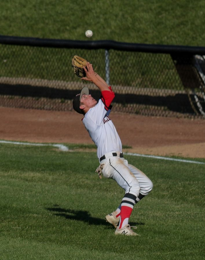 Bev Horne/bhorne@dailyherald.comHuntley's Zach Model makes a catch in action against Loyola in Class 4A sectional semifinal baseball at Boomers Stadium in Schaumburg on Monday.