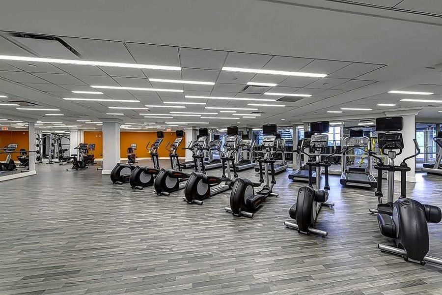 A state-of-the-art fitness center was part of a $10 million-dollar capital improvement program at the former Zurich North American headquarters.