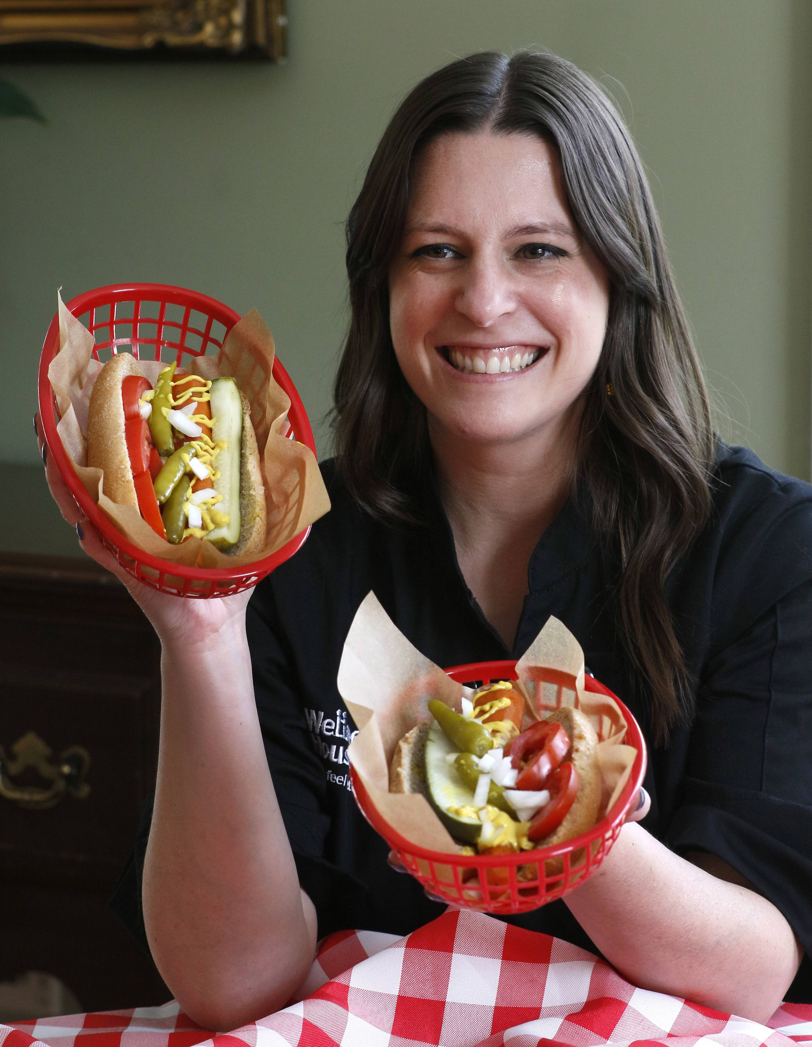 Angela Dennison, RD, LDN, oncology dietitian, for the Wellness House in Hinsdale creates plant-based recipes like Chicago style carrot dogs.