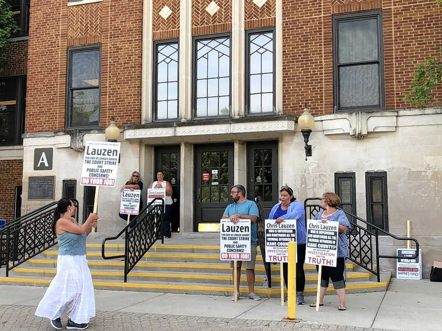 Kane County probation officers moved part of their 38th day on strike to the county campus Wednesday. They called on county elected officials to make their voices heard and help resolve the contact impasse.