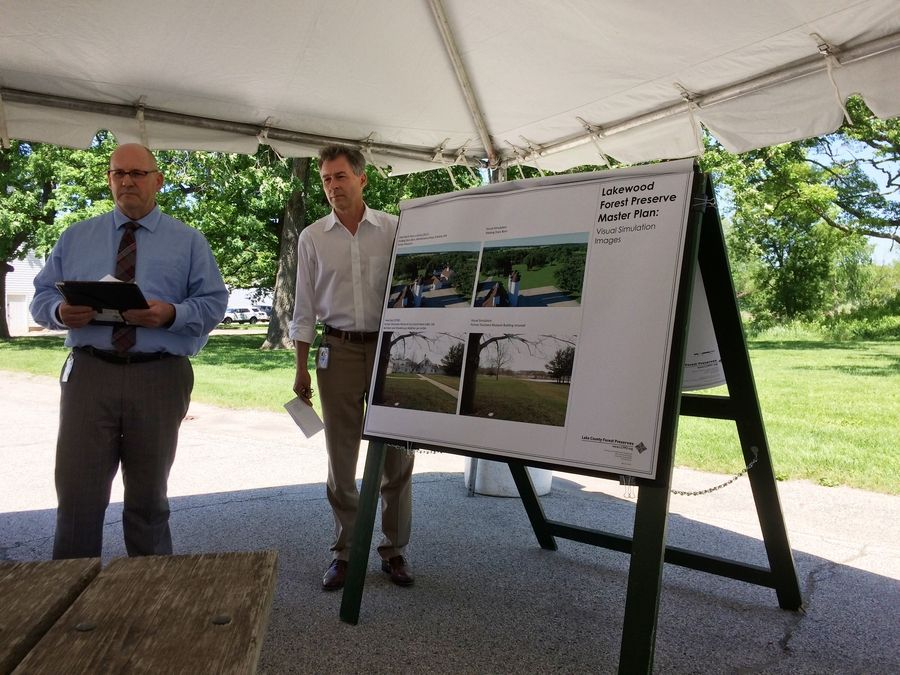 Randy Seebach, left, Lake County Forest Preserve District director of planning and land preservation, and Executive Director Ty Kovach discuss the master plan process for Lakewood Forest Preserve.