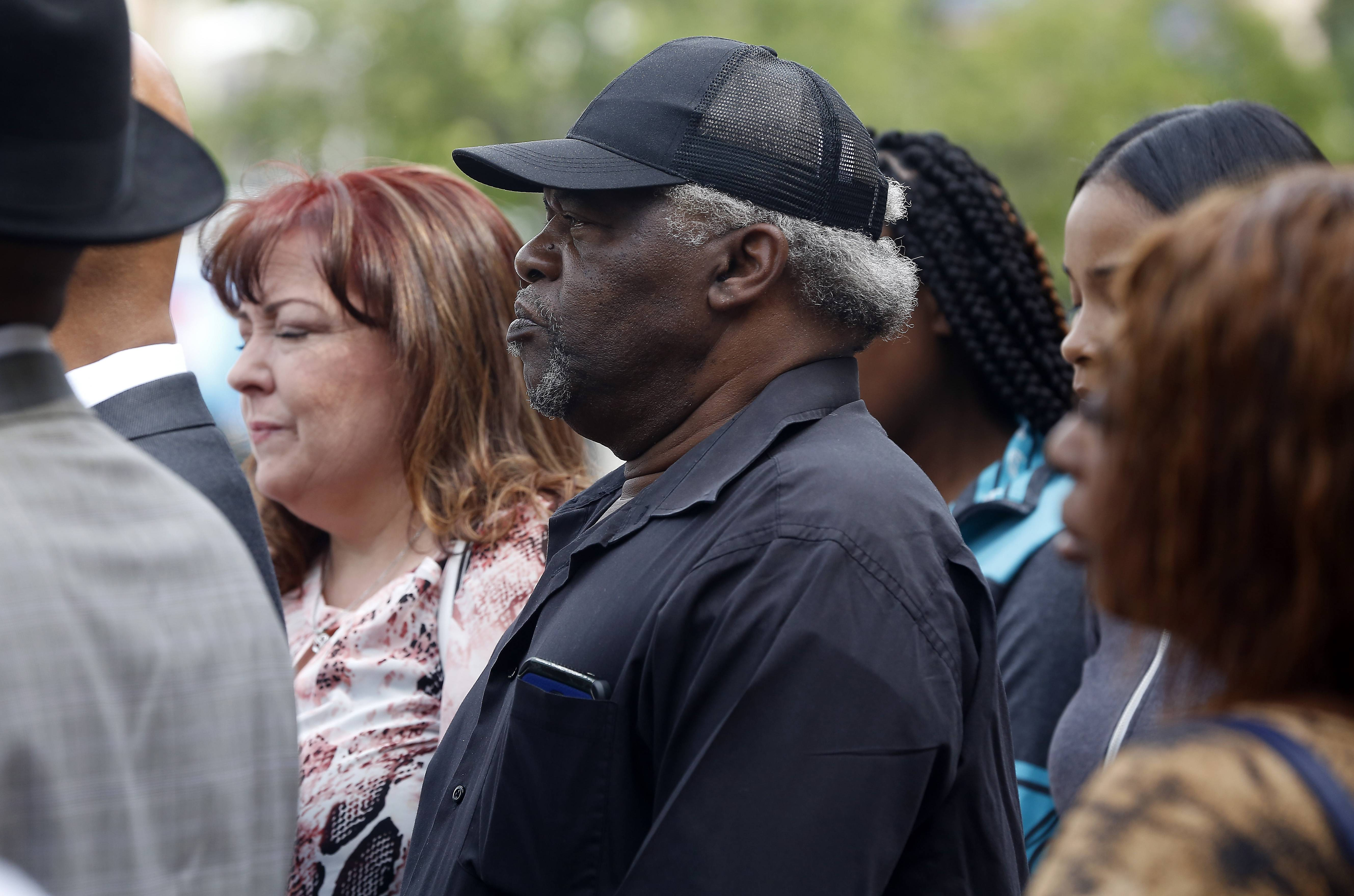 "Charles Clements of Elgin, father of Decynthia Clements, at a news conference Wednesday. The family filed a federal civil rights lawsuit naming police Sgt. Christopher Jensen and the city of Elgin ""for the unjustified and unconstitutional shooting death"" of the 34-year-old woman."