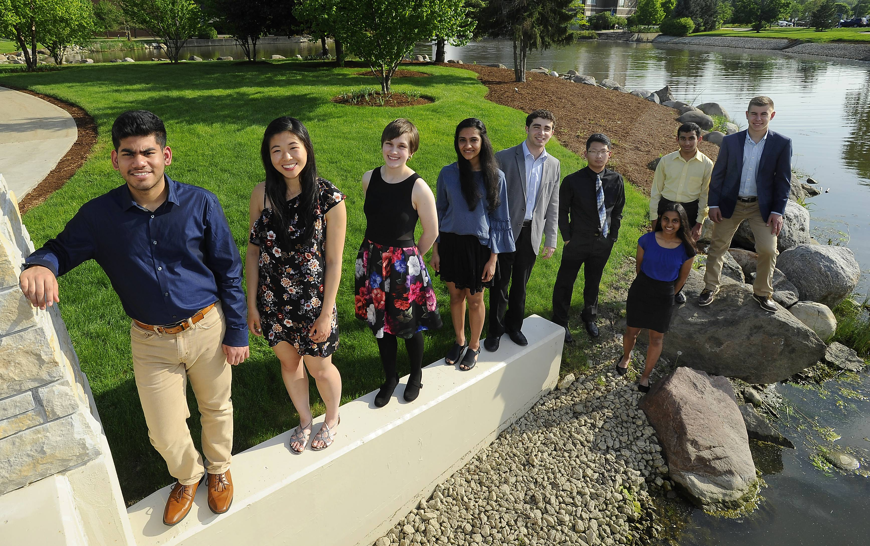 The Northwest Suburban Academic Team, gathered at Harper College. From left: Nitinshankar Subramanian, Conant High School; Allison Zhang, Conant High School; Carissa N. Lehning, Elk Grove High School; Uma Pradeepan, Schaumburg High School; Jeremy Yoder, St. Viator High School; Kevin Chen, William Fremd High School; Bhagirath Mehta, Maine West High School; John McDonough, Hersey High School and Megha Ramanathan, Hoffman Estates High School. Not pictured: Hari Ramakrishnan, Barrington High School.