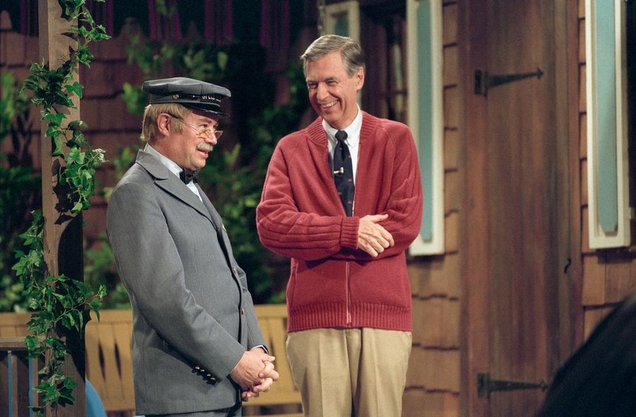 "David Newell, as Mr. McFeely, left, talks with Fred Rogers in Morgan Neville's short and sweet documentary ""Won't You Be My Neighbor?"""