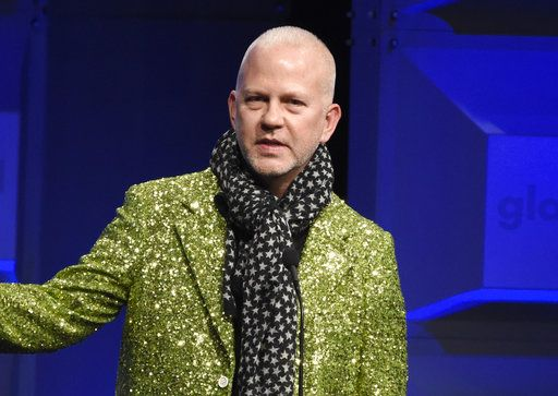 FILE - In this April 12, 2018 file photo, Ryan Murphy presents the Stephen F. Kolzak award at the 29th annual GLAAD Media Awards in Beverly Hills, Calif.   VH1's fifth annual Trailblazer Honors will celebrate acclaimed director Ryan Murphy and Trayvon Martin's parents. The event will air on June 28 on VH1 and Logo. (Photo by Chris Pizzello/Invision/AP, File)