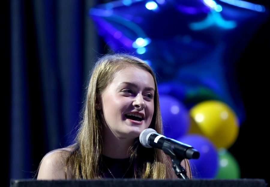 Kylie Graves of Elgin High School speaks after receiving the Heart and Soul Award on Thursdday night at the Daily Herald Prep Sports Excellence Awards at the Sears Centre in Hoffman Estates.