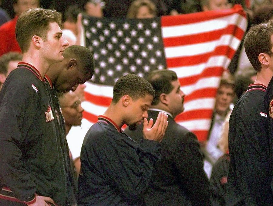 Suspended for one game in 1996 after sitting in protest during the national anthem, Denver Nuggets guard Mahmoud Abdul-Rauf reached a compromise with the NBA. In his first game back against the Chicago Bulls, Abdul-Rauf agreed to stand but bowed his head in prayer.