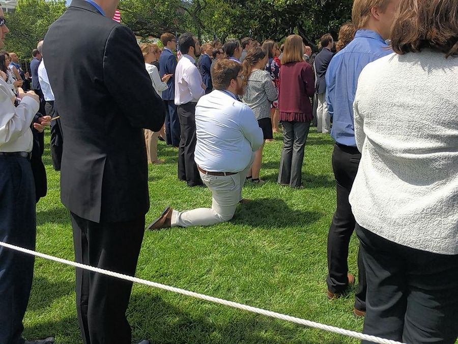 "Even at Tuesday's White House event held as a rebuttal to NFL players who knelt in protest during the national anthem, this man, who refused to talk with reporters, was one of two who took a knee after the president proclaimed, ""We love our country, we respect our flag and we always proudly stand for the national anthem."""