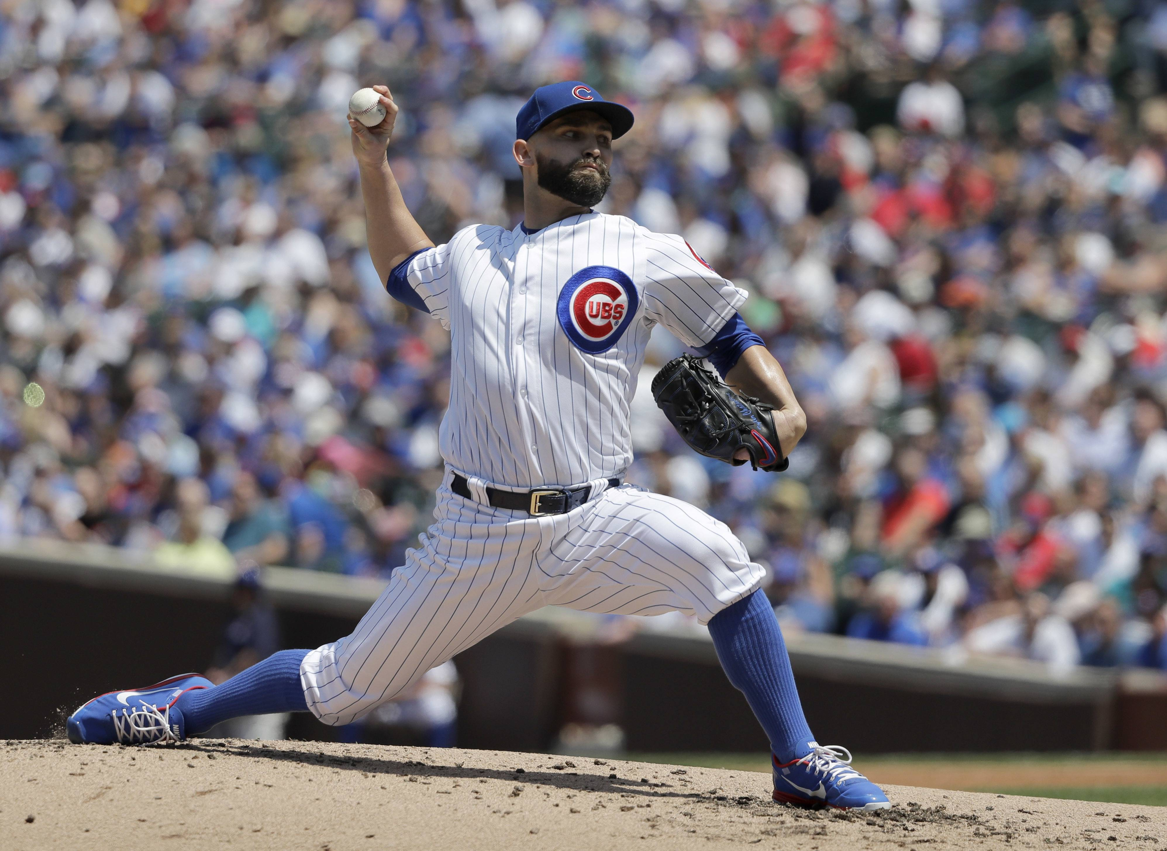 Cubs starting pitcher Tyler Chatwood delivers during the second inning against the Philadelphia Phillies Thursday. Chatwood walked seven batters in only 4⅔ innings but the Cubs emerged with a 4-3 victory