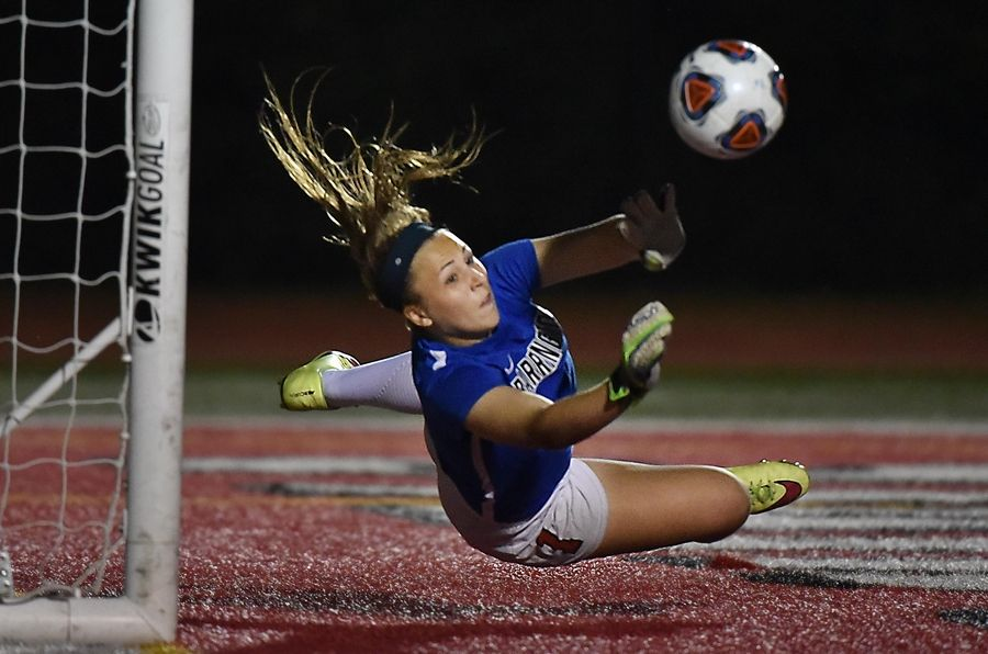 Barrington's Samantha Schmitz makes a shootout save against New Trier during the Fillies' Class 3A state championship effort.