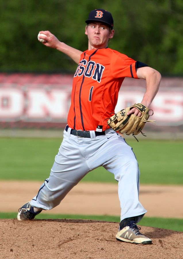 Buffalo Grove senior Zach Fricke delivers against host Barrington in the Mid-Suburban League title game.