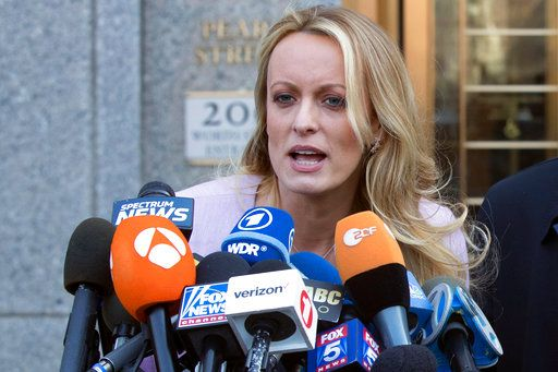 "FILE - In this April 16, 2018, file photo, adult film actress Stormy Daniels speaks outside federal court in New York. Daniels says her ex-lawyer was a ""puppet"" for President Donald Trump and worked with the president's attorney to get her to appear on Fox News and falsely deny having sex with Trump. The allegations are made in a lawsuit filed June 6 in Los Angeles. The lawsuit alleges Trump's lawyer Michael Cohen ""colluded"" with Daniels' then-attorney Keith Davidson to have her deny the relationship on Fox News after a tabloid magazine story about Daniels and Trump."