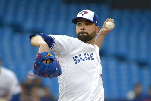 Toronto Blue Jays starting pitcher Jaime Garcia throws to a Baltimore Orioles batter during the first inning of a baseball game Thursday, June 7, 2018, in Toronto. (Jon Blacker/The Canadian Press via AP)