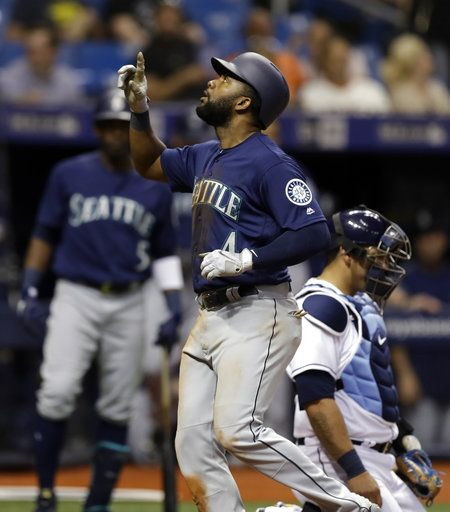 Seattle Mariners' Denard Span (4) celebrates after his home run off Tampa Bay Rays relief pitcher Austin Pruitt during the third inning of a baseball game Thursday, June 7, 2018, in St. Petersburg, Fla.