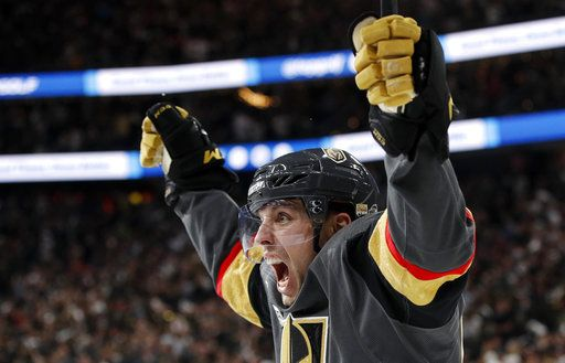 Vegas Golden Knights left wing David Perron celebrates his goal during the second period in Game 5 of the NHL hockey Stanley Cup Finals against the Washington Capitals on Thursday, June 7, 2018, in Las Vegas.