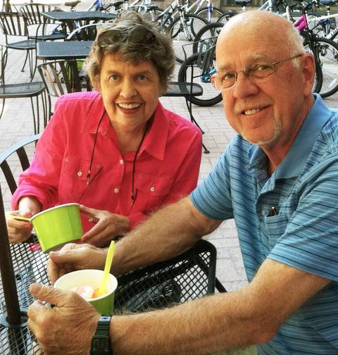 Larry Olson of Arlington Heights and his late wife, Jan, in July 2015, about a year before her death.