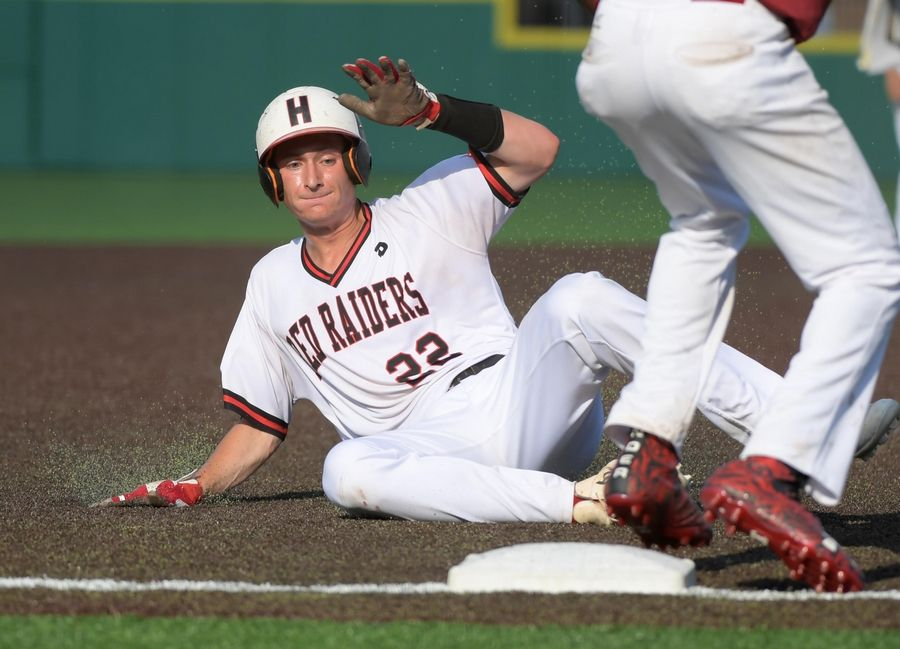 Huntley's Hunter Rumachik advances to third base on a hit by A.J. Henkle in the second inning against Plainfield North in the Class 4A baseball state championship game at Route 66 Stadium in Joliet on Saturday.