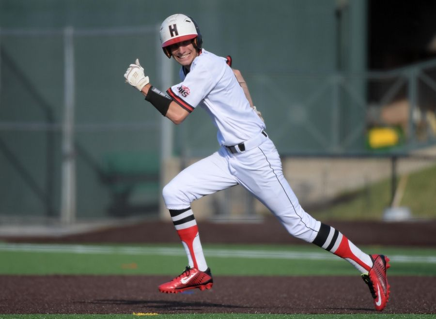 Huntley's Joey Petryniec steals second base in the third inning against Plainfield North in the Class 4A state baseball championship game at Route 66 Stadium in Joliet on Saturday. He then scored on a long sacrifice fly by Kamrin Hoffmann.