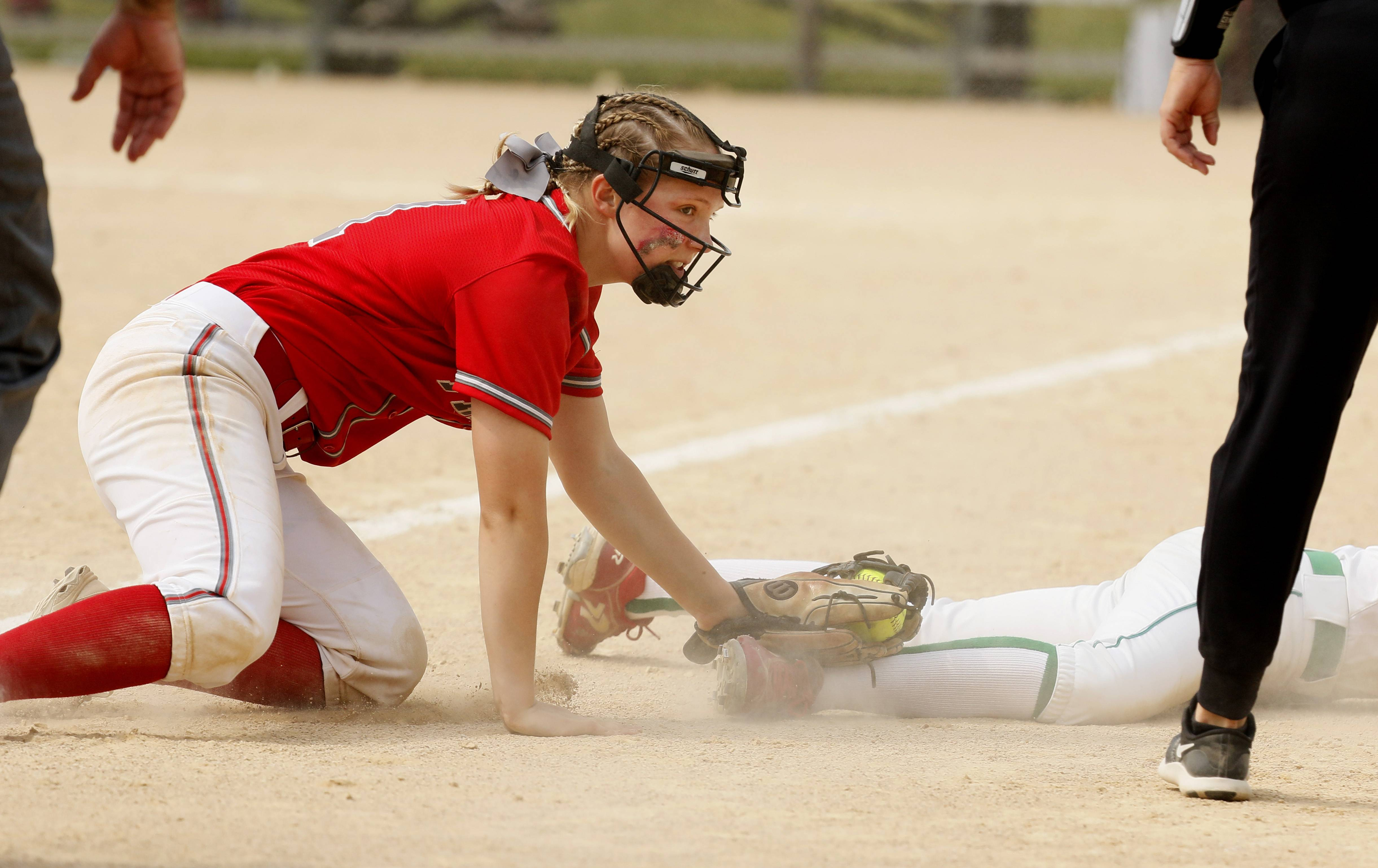 Palatine third baseman Maddie Craver tags out York's Jane Moran during the Class 4A third-place game.