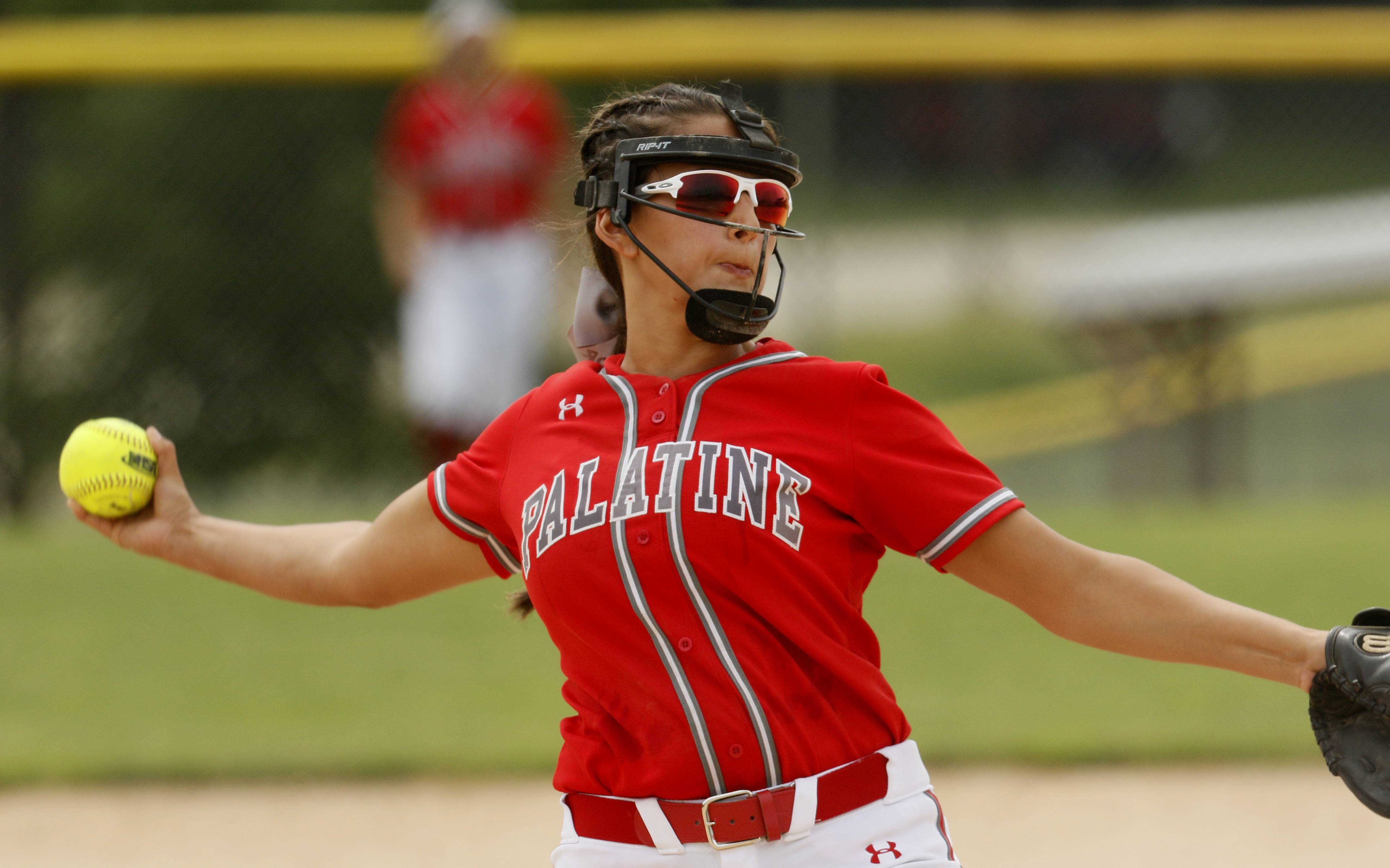 Palatine's Sarah Grossman delivers a pitch against York during the Class 4A third-place game.