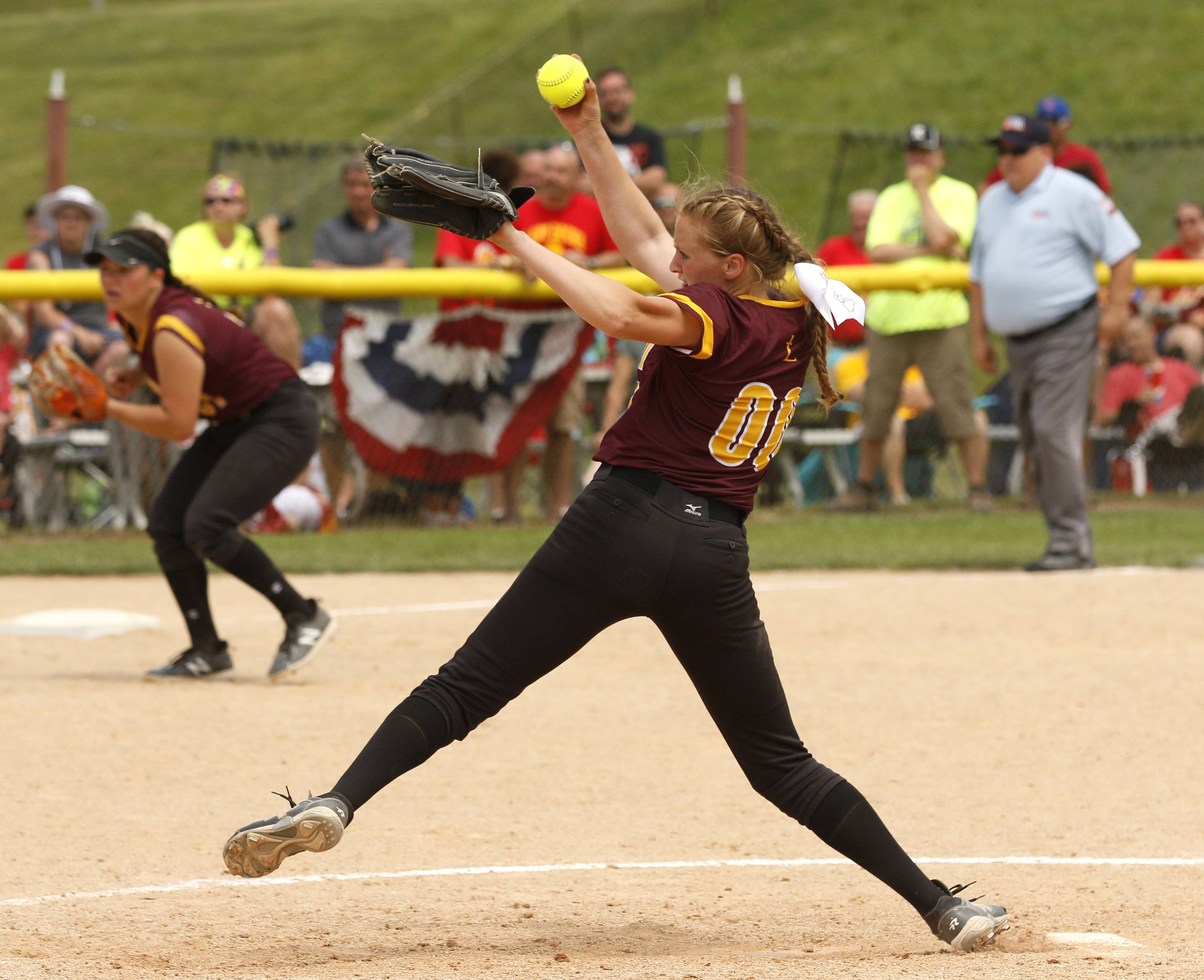 Montini Catholic pitcher Allyson Dilday throws to the plate in the seventh inning against Kaneland.