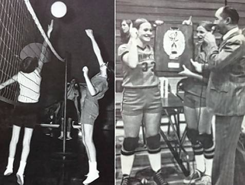 Two landmark Girls Volleyball moments: playing the first interscholastic contest vs. Glenbrook North in the fall of 1969 (Janet Weidner is on the right); and winning the Sectional title in the first year of the IHSA sponsored state series in the fall of 1974. Captains Cindy Bretthauer and Peggy Boyes accept the plaque.