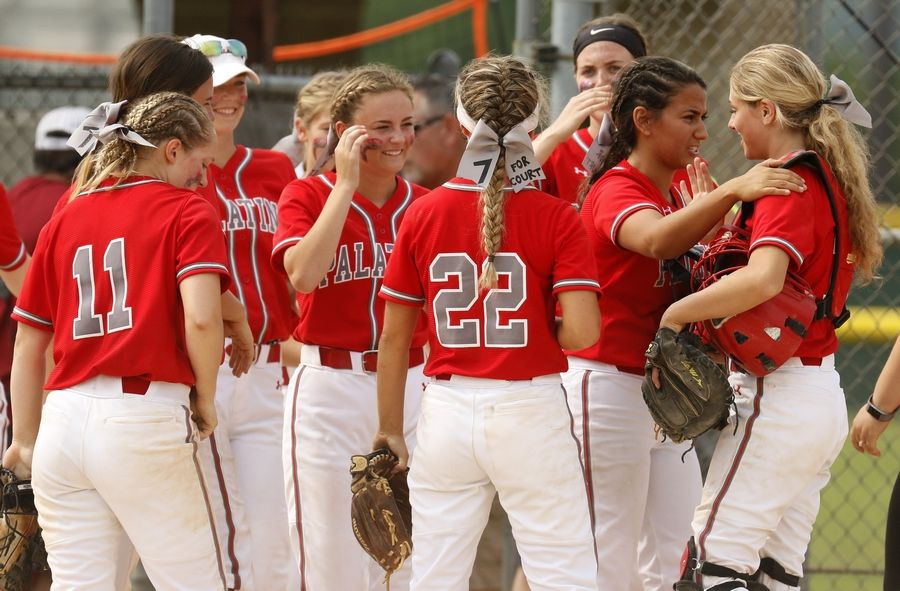 Palatine players celebrate their 2-0 win over York in the Class 4A third-place game.