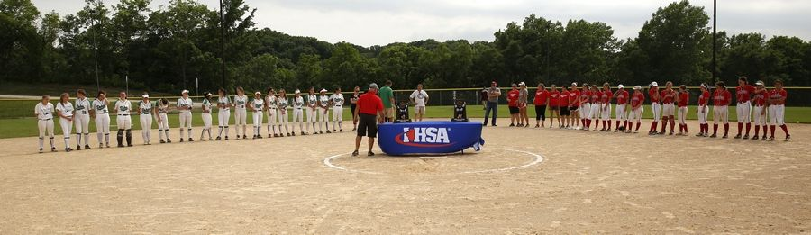 York and Palatine players line up to receive their medals following the Class 4A third-place game.