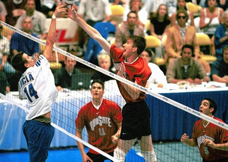 Colin McMillan, right, goes up for a block in the 2000 NCAA Championship game for Ohio State against UCLA. McMillan was named to the NCAA All-Tournament team.