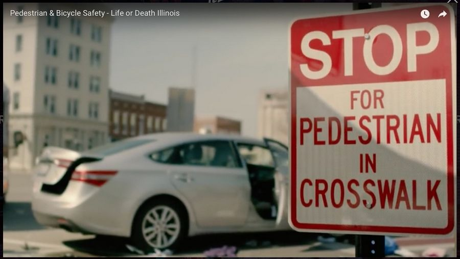 "The Illinois Department of Transportation's ""Life or Death"" ad campaign focuses on pedestrian, cyclist and motorcyclist collisions with vehicles."