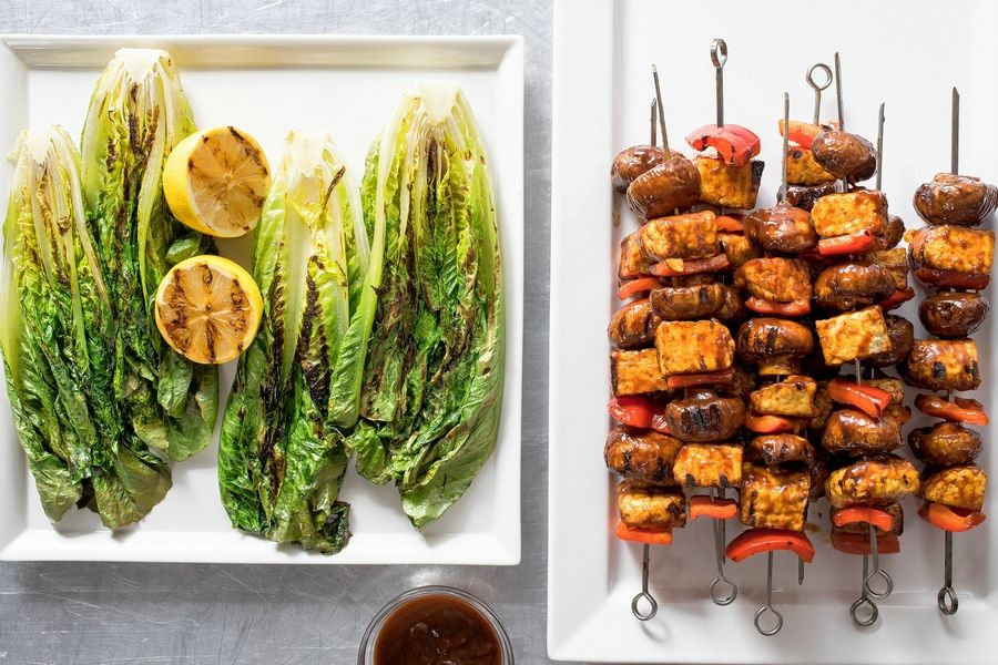 Daniel J. van Ackere of America's Test Kitchen for APBarbecued tempeh skewers with grilled romaine lettuce.
