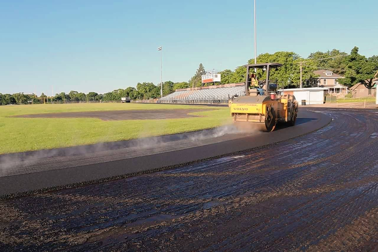 Crews are repaving the track at Crystal Lake Central High School. It's part of nearly $14 million in improvements being made this summer at Crystal Lake High School District 155's four high schools.