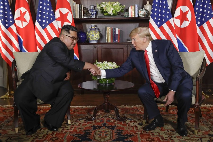North Korea leader Kim Jong Un and U.S. President Donald Trump continue their first meeting at the Capella resort on Sentosa Island Tuesday in Singapore.