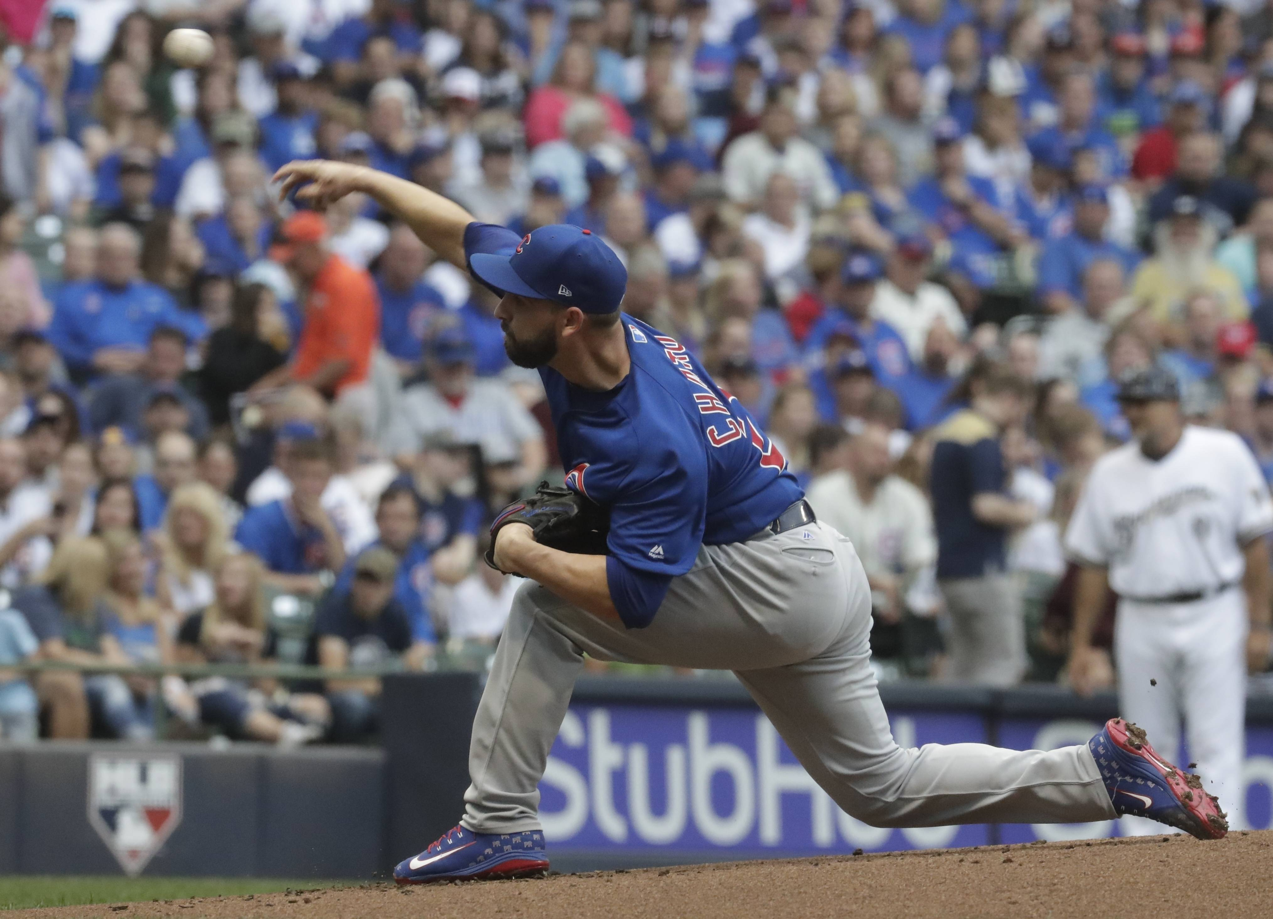 Chicago Cubs starting pitcher Tyler Chatwood throws during the first inning of a baseball game against the Milwaukee Brewers Tuesday, June 12, 2018, in Milwaukee.