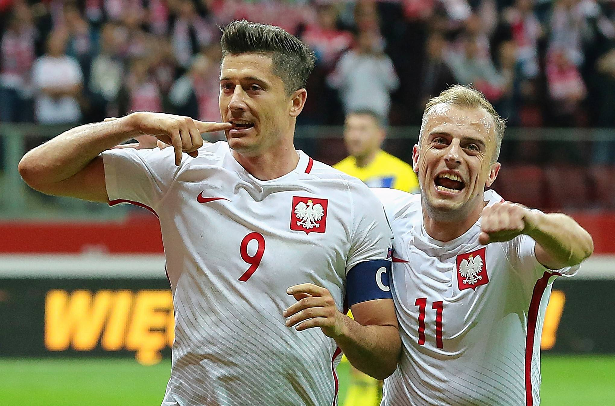 Poland's Robert Lewandowski, left, has been a scoring machine with 89 league goals the past three Bayern Munich campaigns and 10 in World Cup qualifying for his home country.