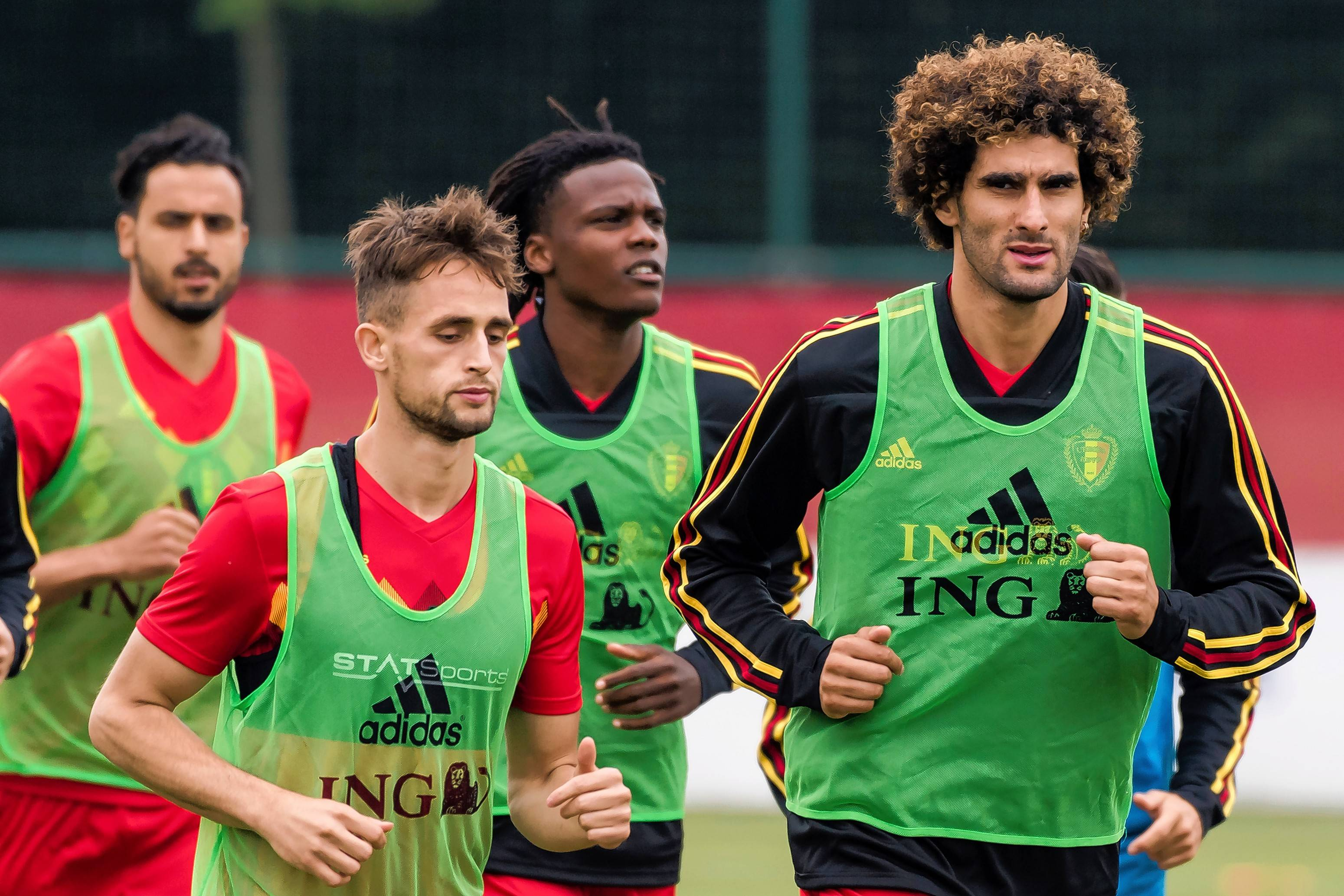 Members of Belgium's talented team, left to right, Nacer Chadli, Adnan Januzaj, Dedryck Boyata and Marouane Fellaini prepare for the World Cup opener on Monday.